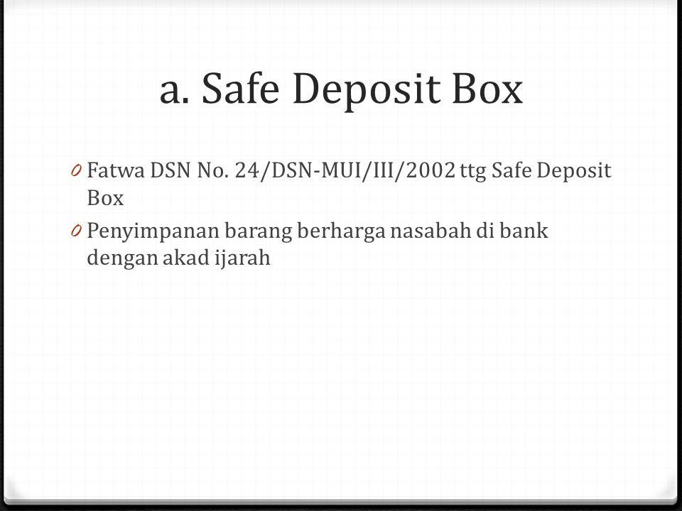a.Safe Deposit Box 0 Fatwa DSN No.