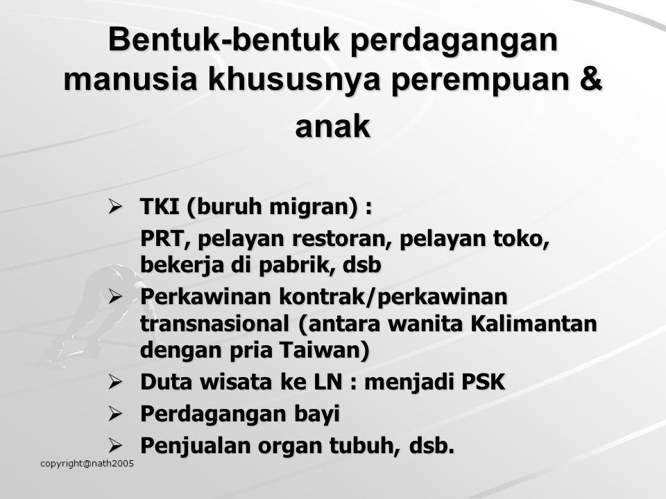 copyright@nath2005 Bentuk-bentuk perdagangan manusia khususnya perempuan & anak  TKI (buruh migran) : PRT, pelayan restoran, pelayan toko, bekerja di