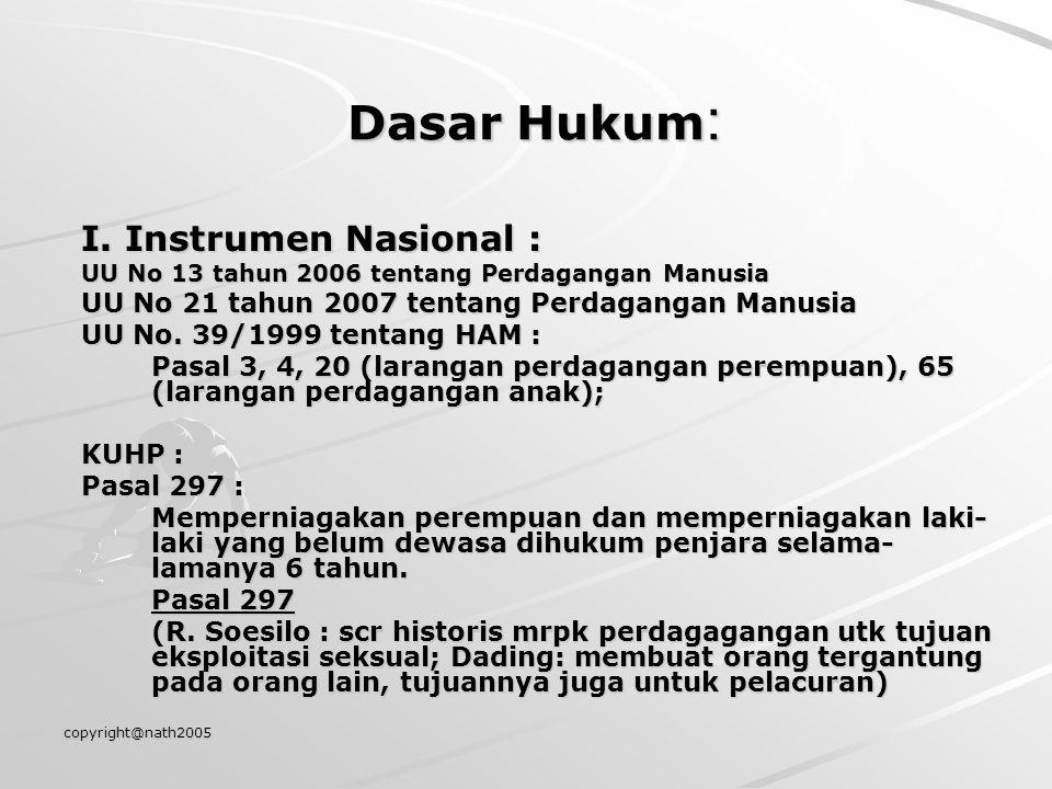 copyright@nath2005 Dasar Hukum : I. Instrumen Nasional : UU No 13 tahun 2006 tentang Perdagangan Manusia UU No 21 tahun 2007 tentang Perdagangan Manus