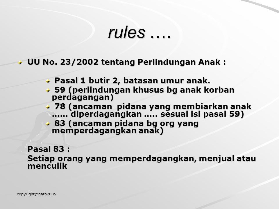 copyright@nath2005 rules …. UU No. 23/2002 tentang Perlindungan Anak : Pasal 1 butir 2, batasan umur anak. Pasal 1 butir 2, batasan umur anak. 59 (per
