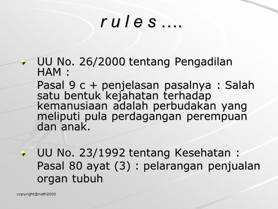 copyright@nath2005 r u l e s …. r u l e s …. UU No. 26/2000 tentang Pengadilan HAM : Pasal 9 c + penjelasan pasalnya : Salah satu bentuk kejahatan ter