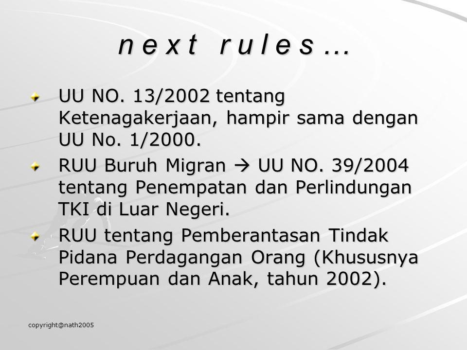 copyright@nath2005 n e x t r u l e s … UU NO. 13/2002 tentang Ketenagakerjaan, hampir sama dengan UU No. 1/2000. RUU Buruh Migran  UU NO. 39/2004 ten