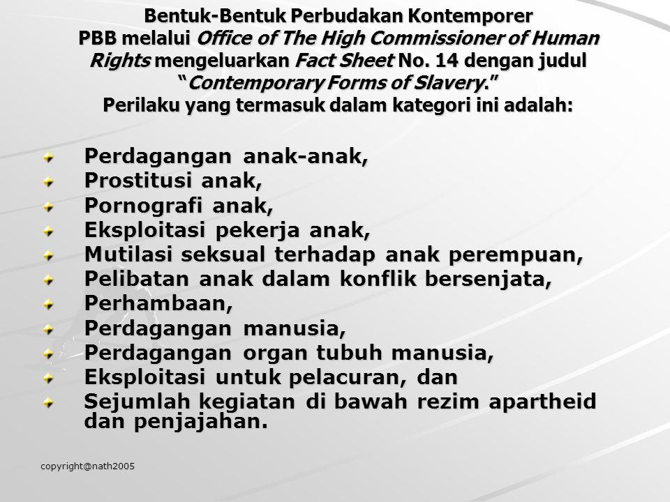 copyright@nath2005 Bentuk-Bentuk Perbudakan Kontemporer PBB melalui Office of The High Commissioner of Human Rights mengeluarkan Fact Sheet No. 14 den