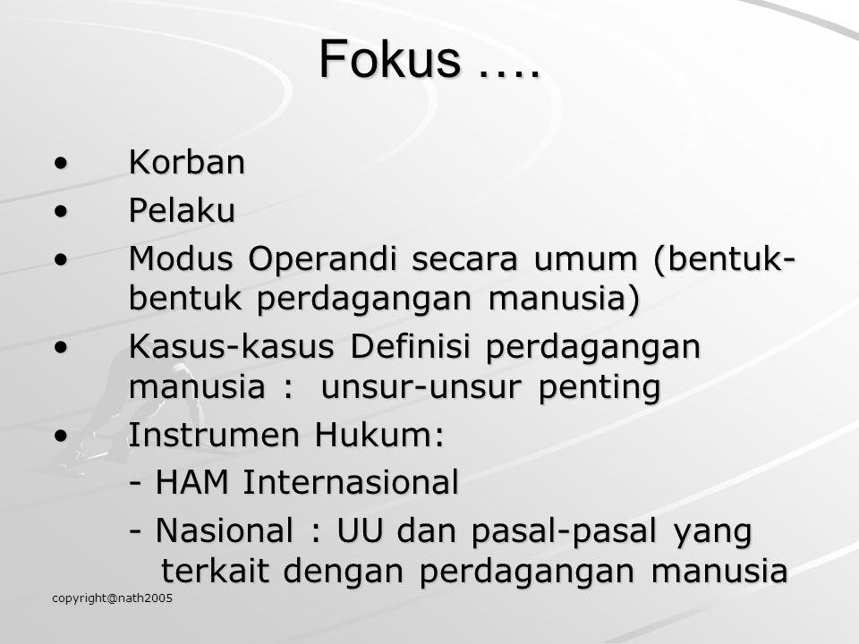 copyright@nath2005 Fokus …. KorbanKorban PelakuPelaku Modus Operandi secara umum (bentuk- bentuk perdagangan manusia)Modus Operandi secara umum (bentu