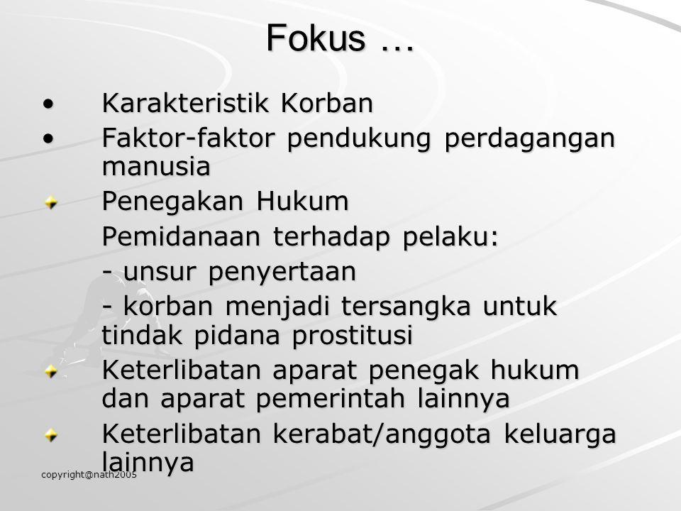 copyright@nath2005 Fokus … Karakteristik Korban Faktor-faktor pendukung perdagangan manusia Penegakan Hukum Pemidanaan terhadap pelaku: - unsur penyer