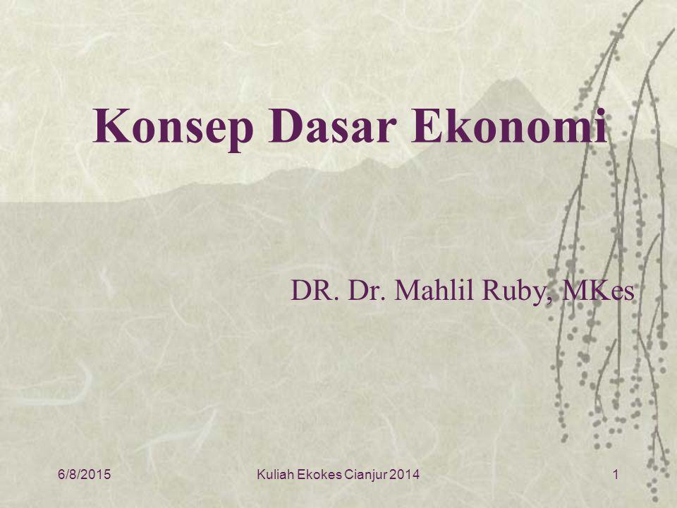 6/8/20151 Konsep Dasar Ekonomi DR. Dr. Mahlil Ruby, MKes Kuliah Ekokes Cianjur 2014