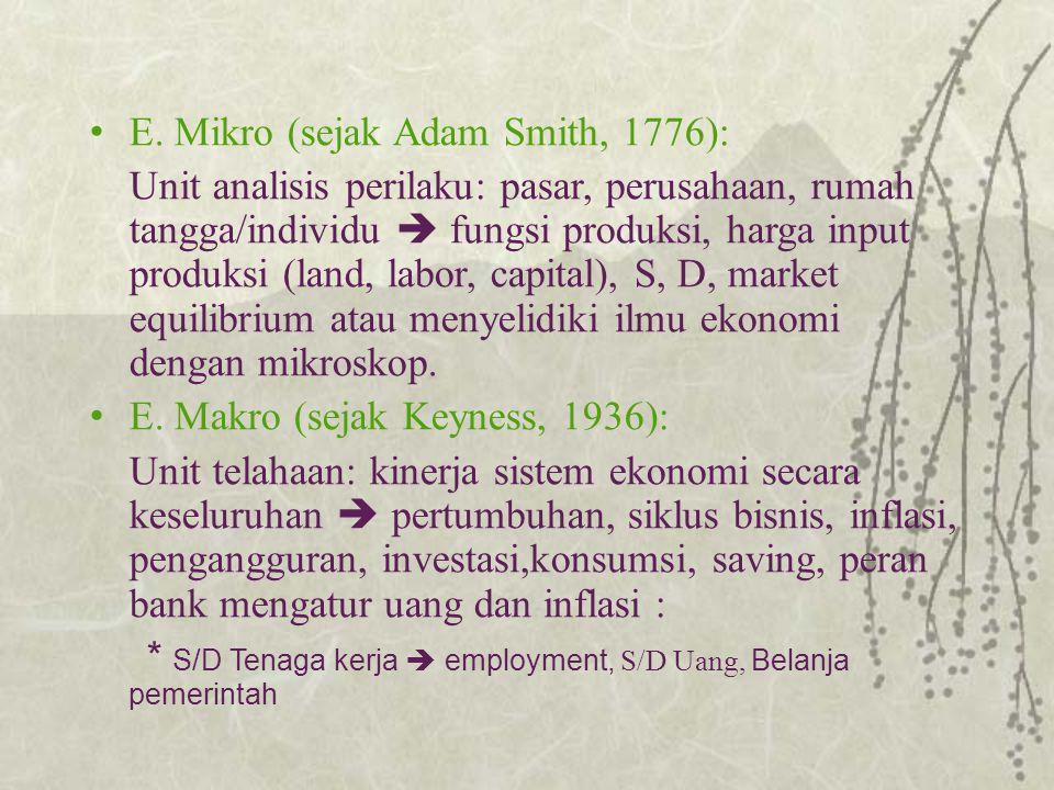E. Mikro (sejak Adam Smith, 1776): Unit analisis perilaku: pasar, perusahaan, rumah tangga/individu  fungsi produksi, harga input produksi (land, lab
