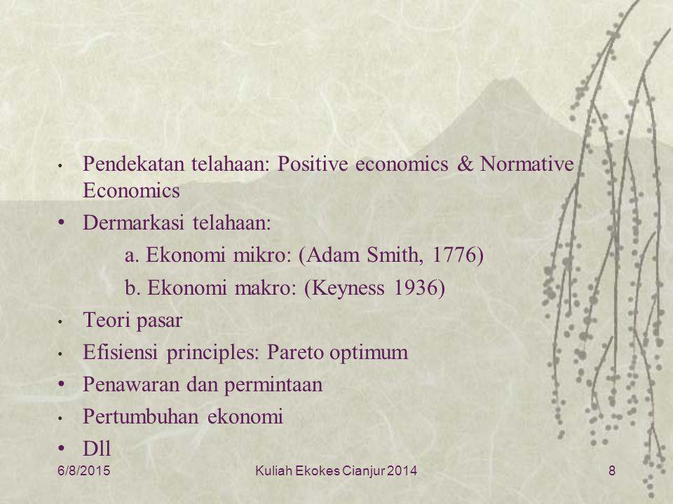 Pendekatan telahaan: Positive economics & Normative Economics Dermarkasi telahaan: a.