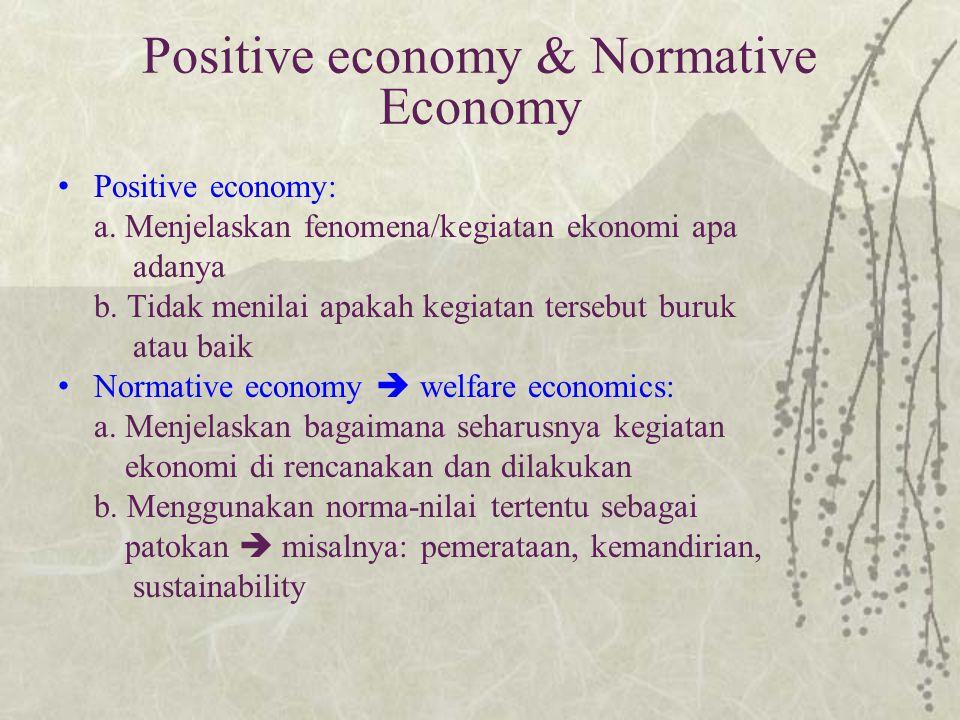 Welfare economics Telahaan ekonomi (1) positive economics (what has happened) (2) normative economics (what it should be) Welfare economics: cabang I.