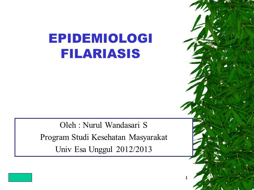 EPIDEMIOLOGI FILARIASIS Oleh : Nurul Wandasari S Program Studi Kesehatan Masyarakat Univ Esa Unggul 2012/2013
