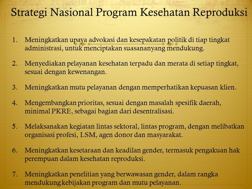 Strategi Nasional Program Kesehatan Reproduksi 1.Meningkatkan upaya advokasi dan kesepakatan politik di tiap tingkat administrasi, untuk menciptakan s