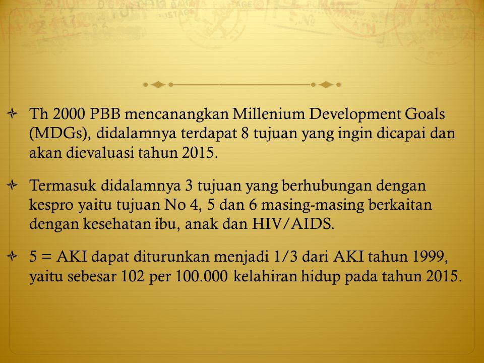  Th 2000 PBB mencanangkan Millenium Development Goals (MDGs), didalamnya terdapat 8 tujuan yang ingin dicapai dan akan dievaluasi tahun 2015.  Terma