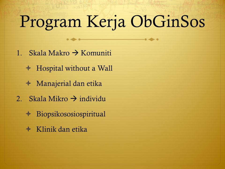 Program Kerja ObGinSos 1.Skala Makro  Komuniti  Hospital without a Wall  Manajerial dan etika 2.Skala Mikro  individu  Biopsikososiospiritual  K