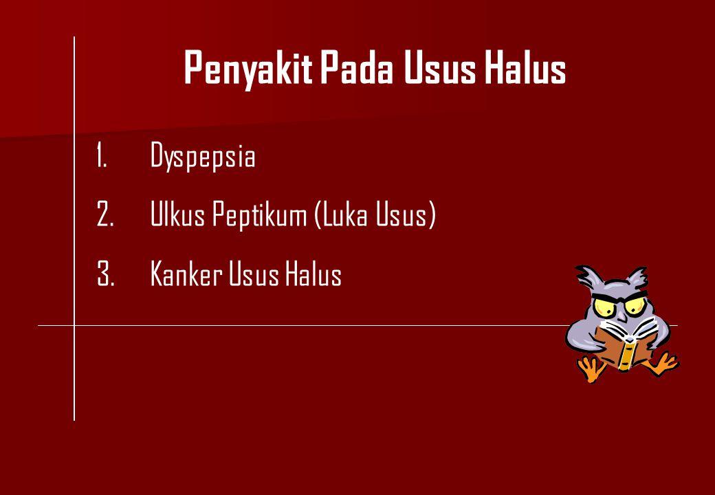 Penyakit Pada Usus Halus 1.Dyspepsia 2.Ulkus Peptikum (Luka Usus) 3.Kanker Usus Halus
