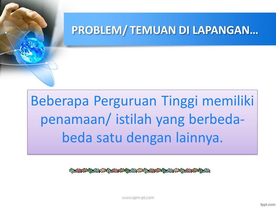 PROBLEM/ TEMUAN DI LAPANGAN… Beberapa Perguruan Tinggi memiliki penamaan/ istilah yang berbeda- beda satu dengan lainnya. www.spm-pt.com