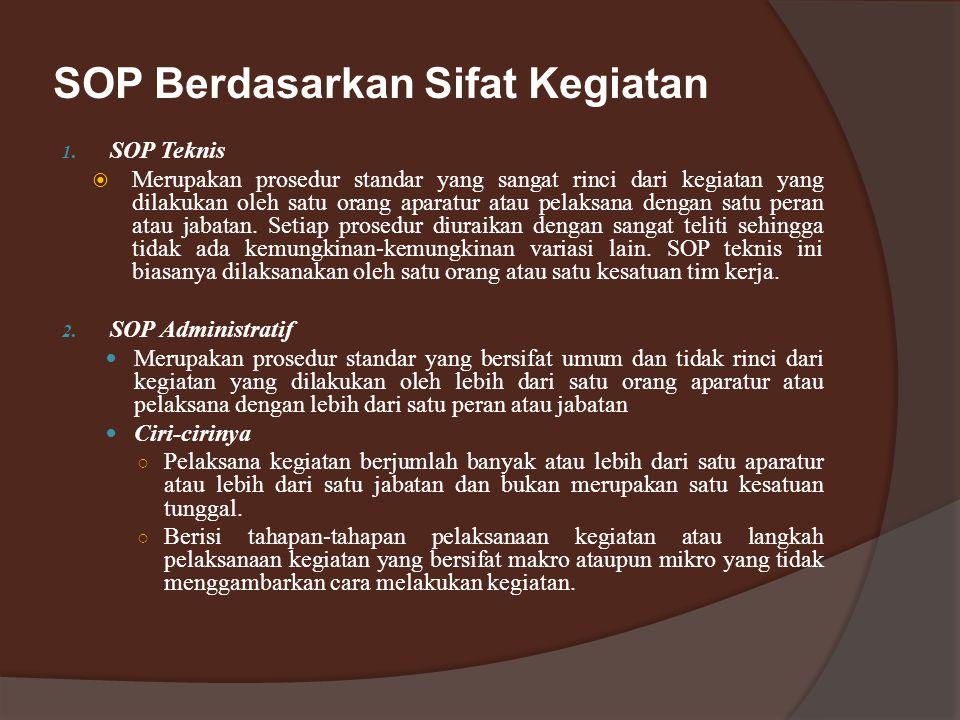 SOP Berdasarkan Sifat Kegiatan 1.