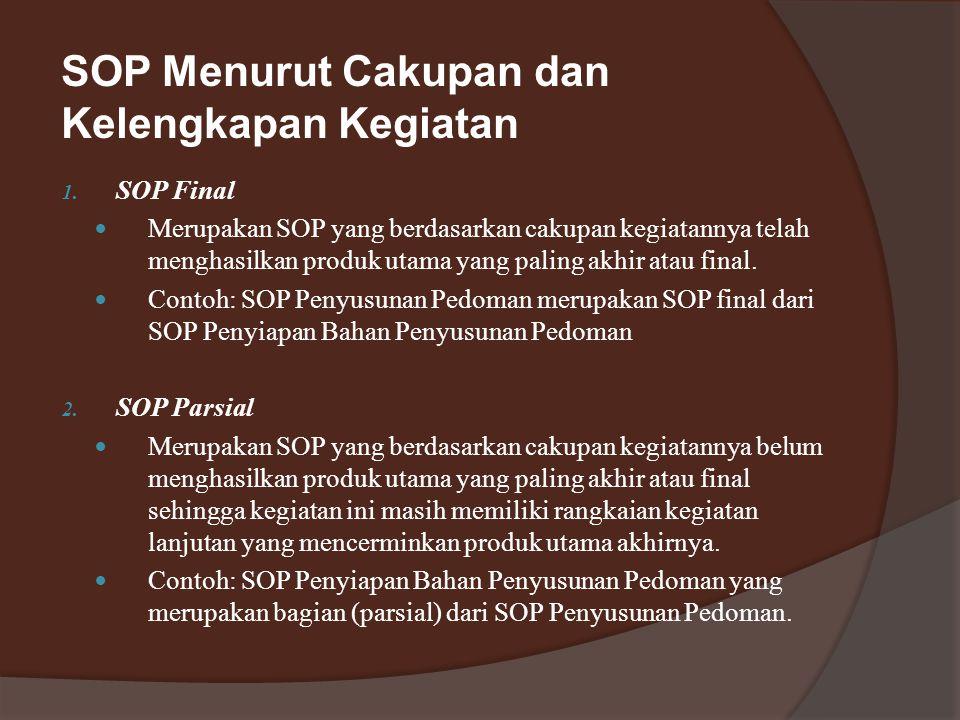 SOP Menurut Cakupan dan Kelengkapan Kegiatan 1.