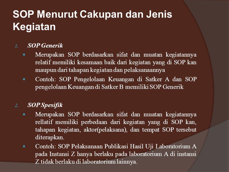 SOP Menurut Cakupan dan Jenis Kegiatan 1.