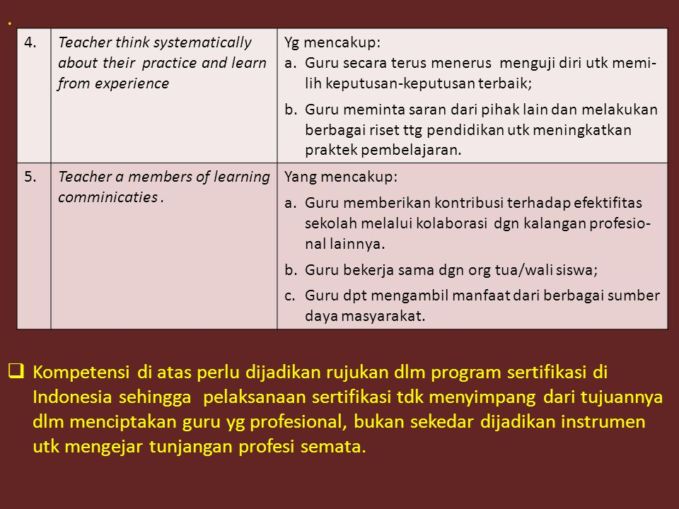 .  Kompetensi di atas perlu dijadikan rujukan dlm program sertifikasi di Indonesia sehingga pelaksanaan sertifikasi tdk menyimpang dari tujuannya dlm