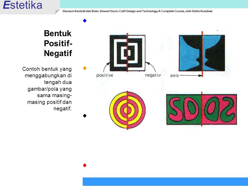 Bentuk Positif- Negatif Contoh bentuk yang menggabungkan di tengah dua gambar/pola yang sama masing- masing positif dan negatif. Estetika Disusun Kemb