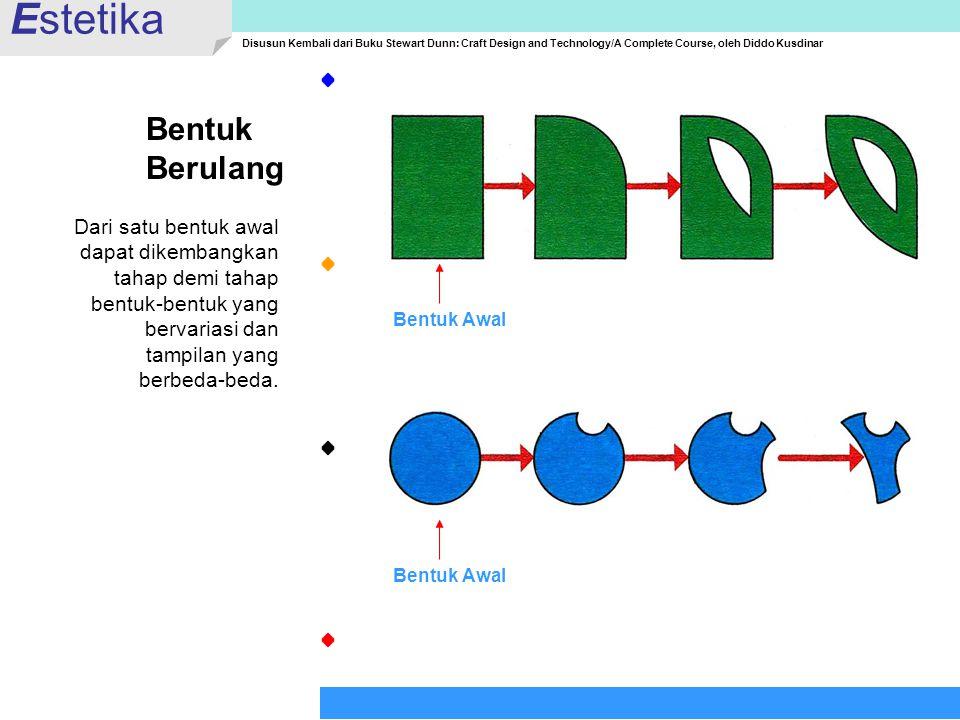 Bentuk Berulang Dari satu bentuk awal dapat dikembangkan tahap demi tahap bentuk-bentuk yang bervariasi dan tampilan yang berbeda-beda. Estetika Disus