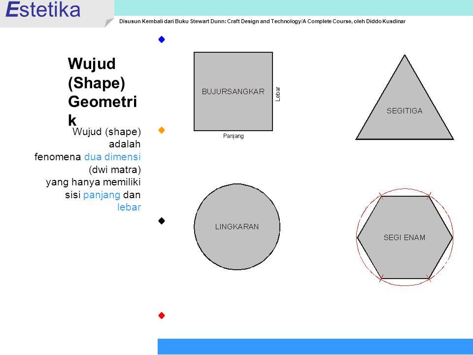 Estetika Disusun Kembali dari Buku Stewart Dunn: Craft Design and Technology/A Complete Course, oleh Diddo Kusdinar Wujud (Shape) Geometri k Wujud (sh