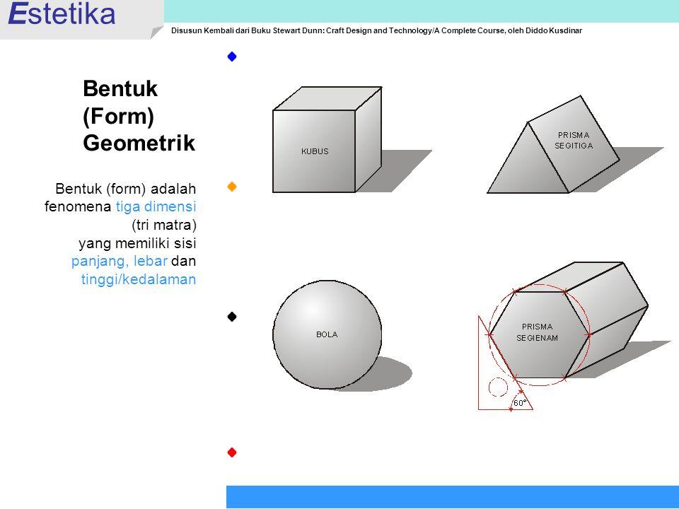 Estetika Disusun Kembali dari Buku Stewart Dunn: Craft Design and Technology/A Complete Course, oleh Diddo Kusdinar Bentuk (Form) Geometrik Bentuk (fo