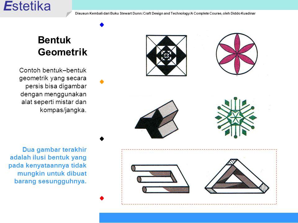 Estetika Disusun Kembali dari Buku Stewart Dunn: Craft Design and Technology/A Complete Course, oleh Diddo Kusdinar Bentuk Geometrik Contoh bentuk–ben