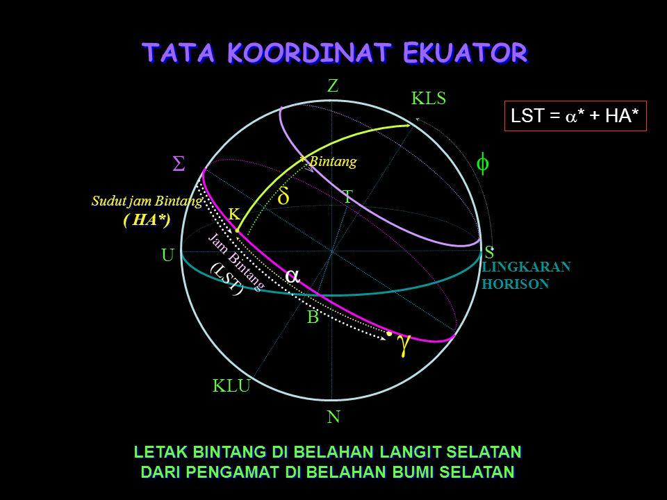 TATA KOORDINAT EKUATOR Lingkaran Dasar: Lingkaran Ekuator Langit Koordinat: Asensio rekta (  ) dan Deklinasi (  ). Asensio rekta: Adalah panjang bus