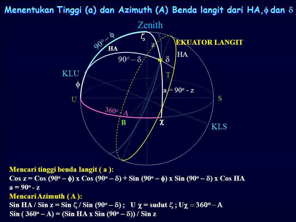 SIFAT SEGITIGA BOLA 1. Jumlah ketiga sudutnya tidak harus 180 o 2. Jarak sudut (panjang busur) antara sebuah lingkaran besar dan kutubnya adalah 90 o