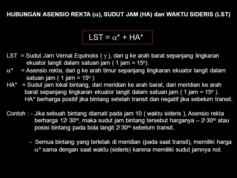 Menentukan Tinggi (a) dan Azimuth (A) Benda langit dari HA,  dan  U S Zenith T B KLU KLS EKUATOR LANGIT          HA z a = 90 o -