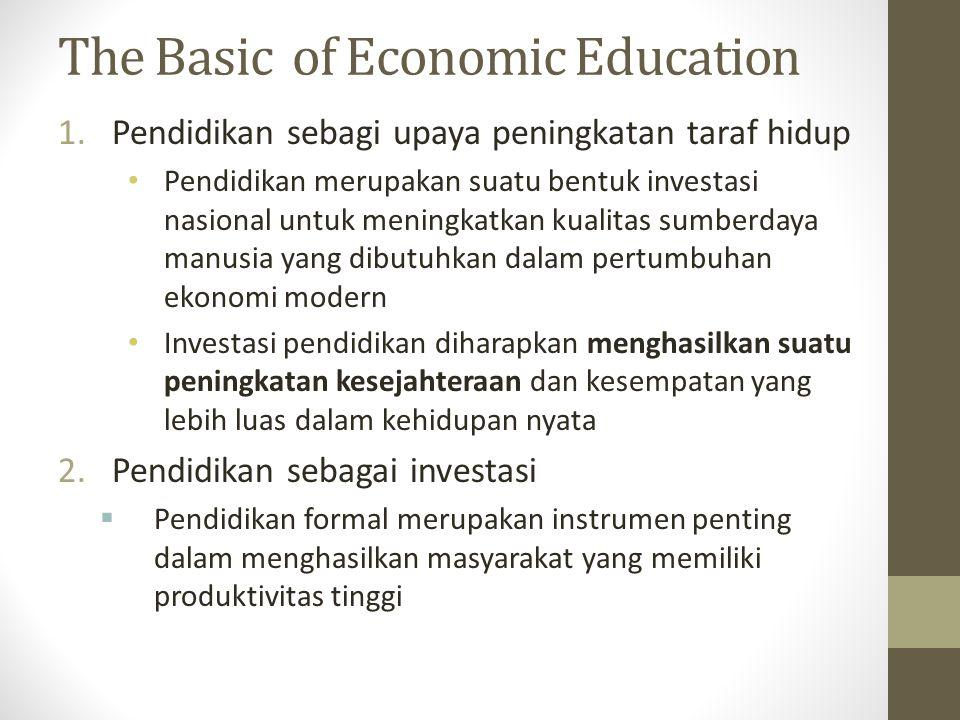 The Basic of Economic Education 1.Pendidikan sebagi upaya peningkatan taraf hidup Pendidikan merupakan suatu bentuk investasi nasional untuk meningkatkan kualitas sumberdaya manusia yang dibutuhkan dalam pertumbuhan ekonomi modern Investasi pendidikan diharapkan menghasilkan suatu peningkatan kesejahteraan dan kesempatan yang lebih luas dalam kehidupan nyata 2.Pendidikan sebagai investasi  Pendidikan formal merupakan instrumen penting dalam menghasilkan masyarakat yang memiliki produktivitas tinggi