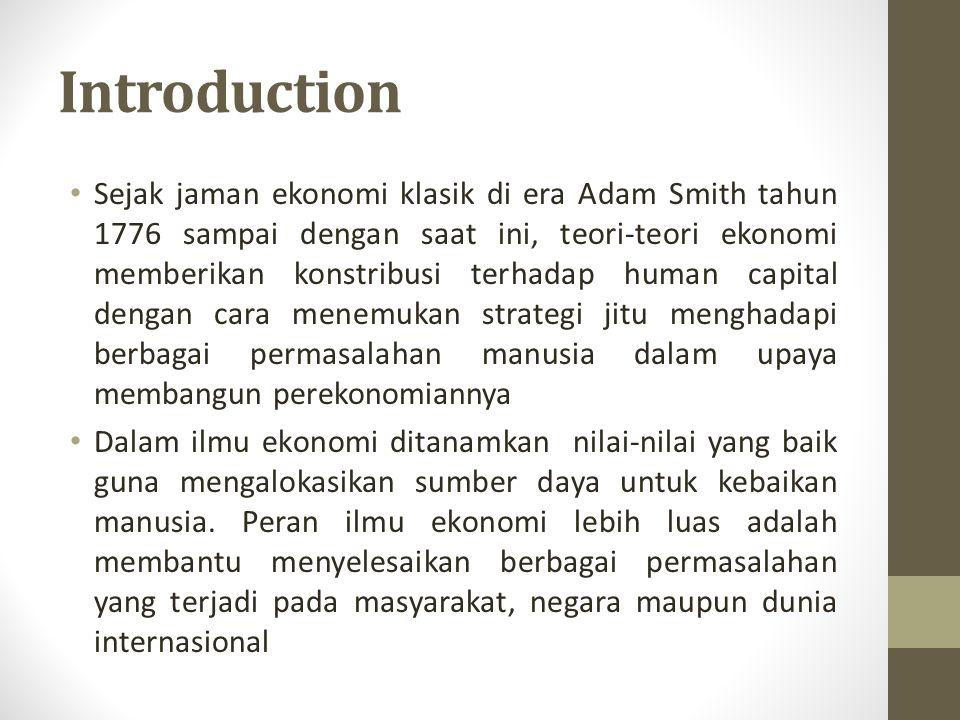 Introduction Sejak jaman ekonomi klasik di era Adam Smith tahun 1776 sampai dengan saat ini, teori-teori ekonomi memberikan konstribusi terhadap human