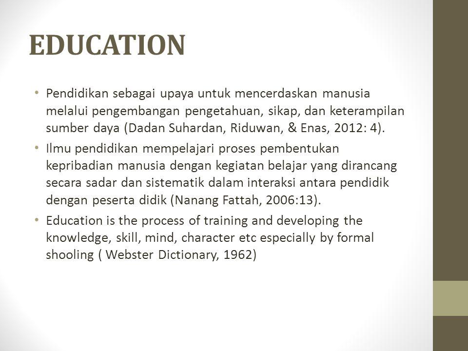 EDUCATION Pendidikan sebagai upaya untuk mencerdaskan manusia melalui pengembangan pengetahuan, sikap, dan keterampilan sumber daya (Dadan Suhardan, Riduwan, & Enas, 2012: 4).