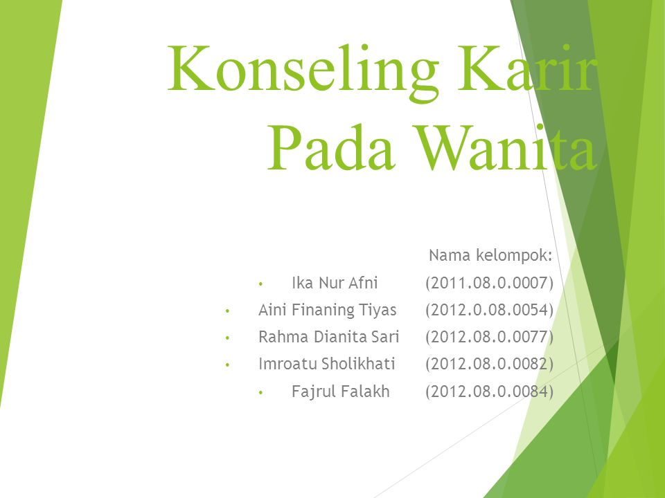 Konseling Karir Pada Wanita Nama kelompok: Ika Nur Afni(2011.08.0.0007) Aini Finaning Tiyas(2012.0.08.0054) Rahma Dianita Sari(2012.08.0.0077) Imroatu Sholikhati(2012.08.0.0082) Fajrul Falakh(2012.08.0.0084)