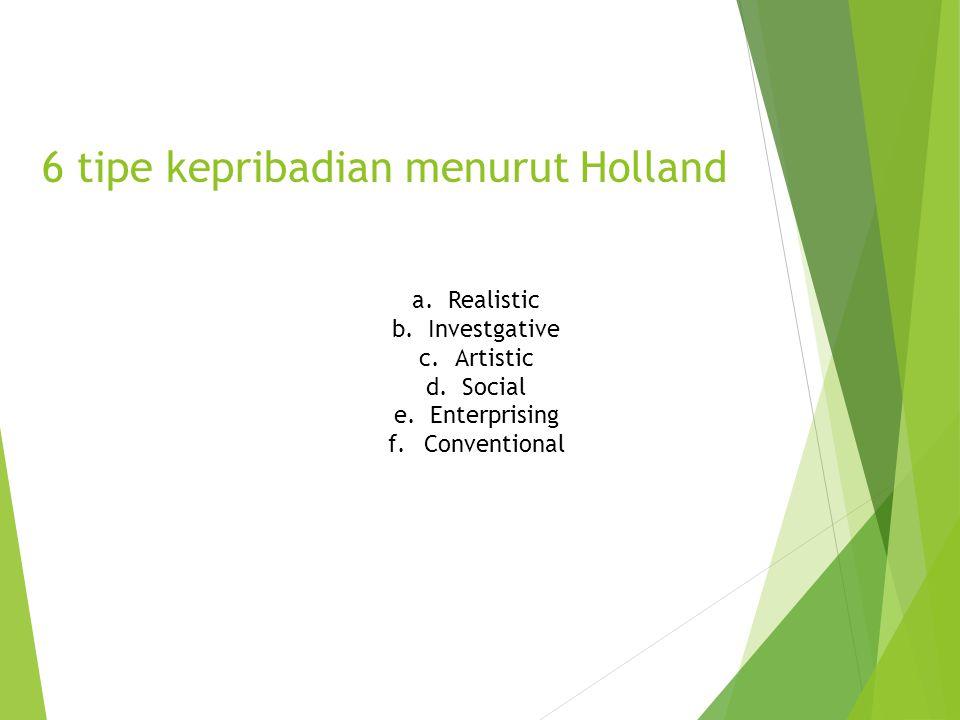 6 tipe kepribadian menurut Holland a.Realistic b.Investgative c.Artistic d.Social e.Enterprising f.Conventional