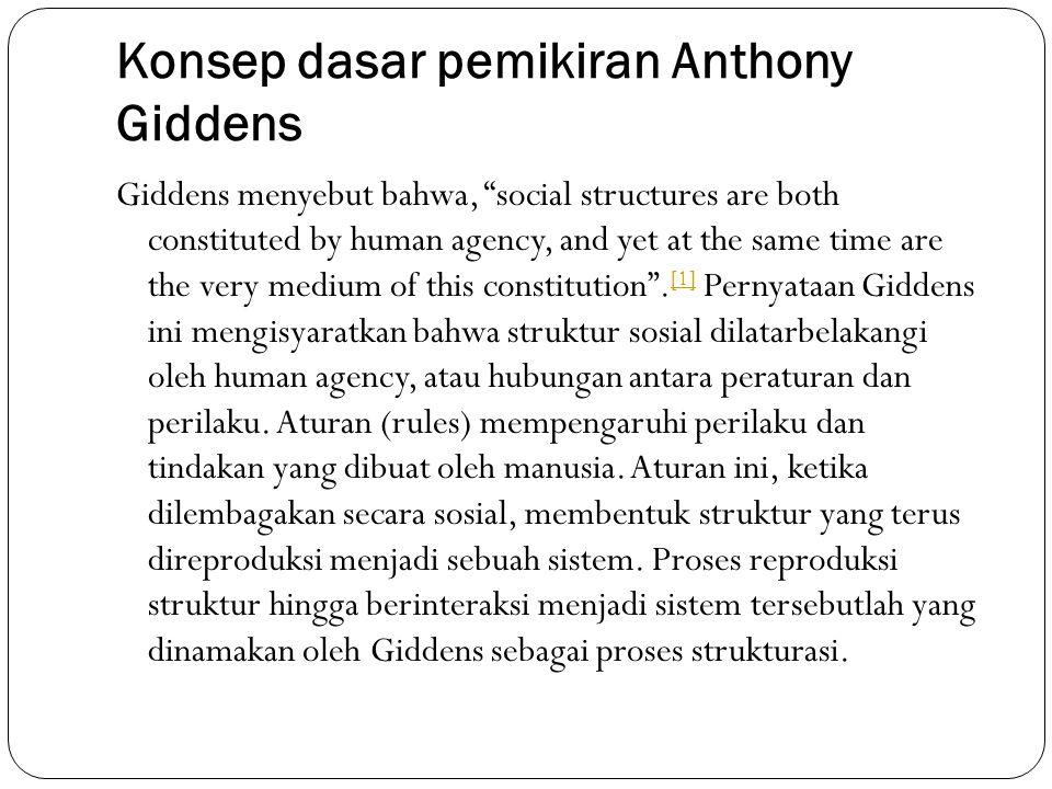 Konsep dasar pemikiran Anthony Giddens Giddens mengatakan bahwa Obyek utama dari ilmu sosial bukanlah peran sosial (social role) seperti dalam Fungsionalisme Talcot Parsons, bukan kode tersembunyi (hidden code) seperti dalam Strukturalisme Claude Levi Strauss, bukan juga dari keunikan situasional seperti dalam Interaksionisme Simbolis Erving Goffman.