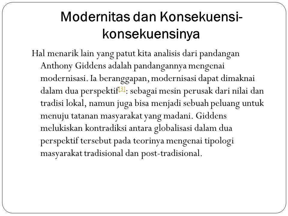 Modernitas dan Konsekuensi- konsekuensinya Hal menarik lain yang patut kita analisis dari pandangan Anthony Giddens adalah pandangannya mengenai moder
