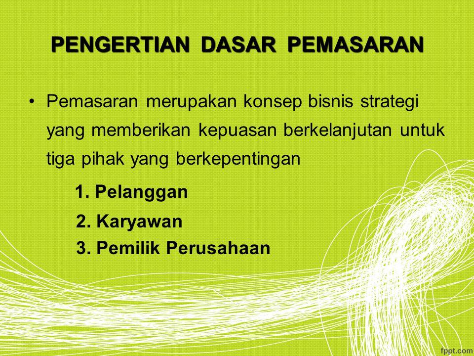 PENGERTIAN DASAR PEMASARAN Pemasaran merupakan konsep bisnis strategi yang memberikan kepuasan berkelanjutan untuk tiga pihak yang berkepentingan 1. P
