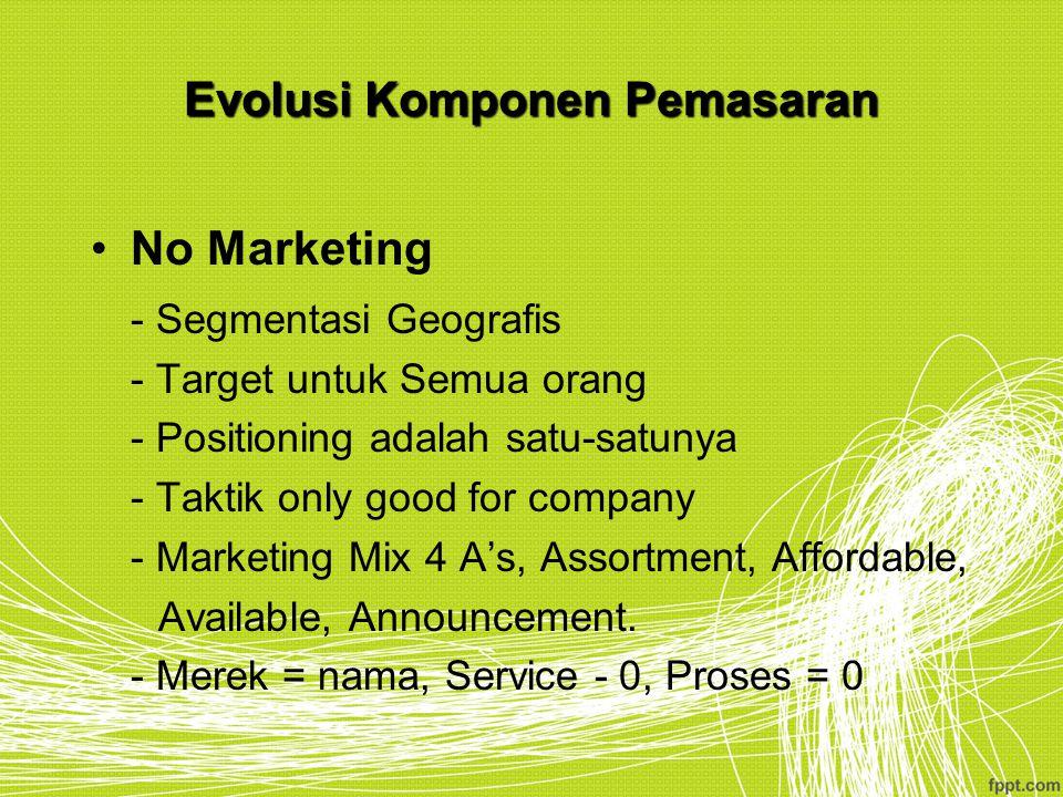 Evolusi Komponen Pemasaran No Marketing - Segmentasi Geografis - Target untuk Semua orang - Positioning adalah satu-satunya - Taktik only good for com