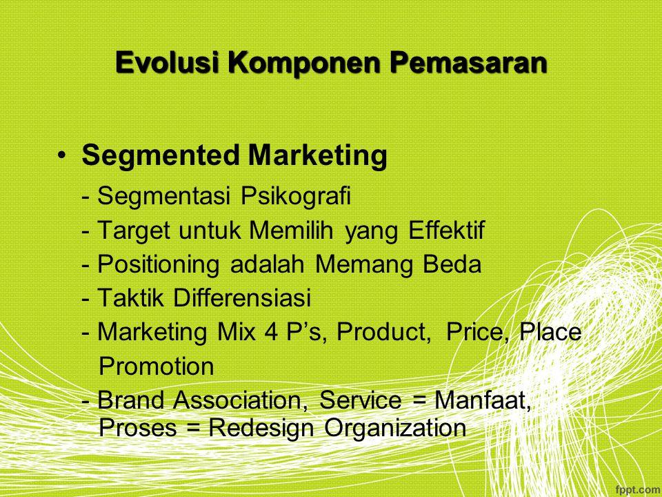 Evolusi Komponen Pemasaran Segmented Marketing - Segmentasi Psikografi - Target untuk Memilih yang Effektif - Positioning adalah Memang Beda - Taktik
