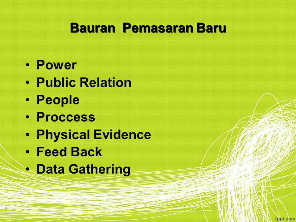 Bauran Pemasaran Baru Power Public Relation People Proccess Physical Evidence Feed Back Data Gathering
