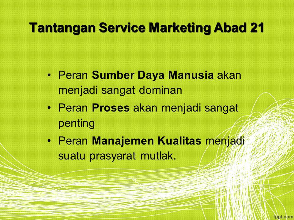 Tantangan Service Marketing Abad 21 Peran Sumber Daya Manusia akan menjadi sangat dominan Peran Proses akan menjadi sangat penting Peran Manajemen Kua