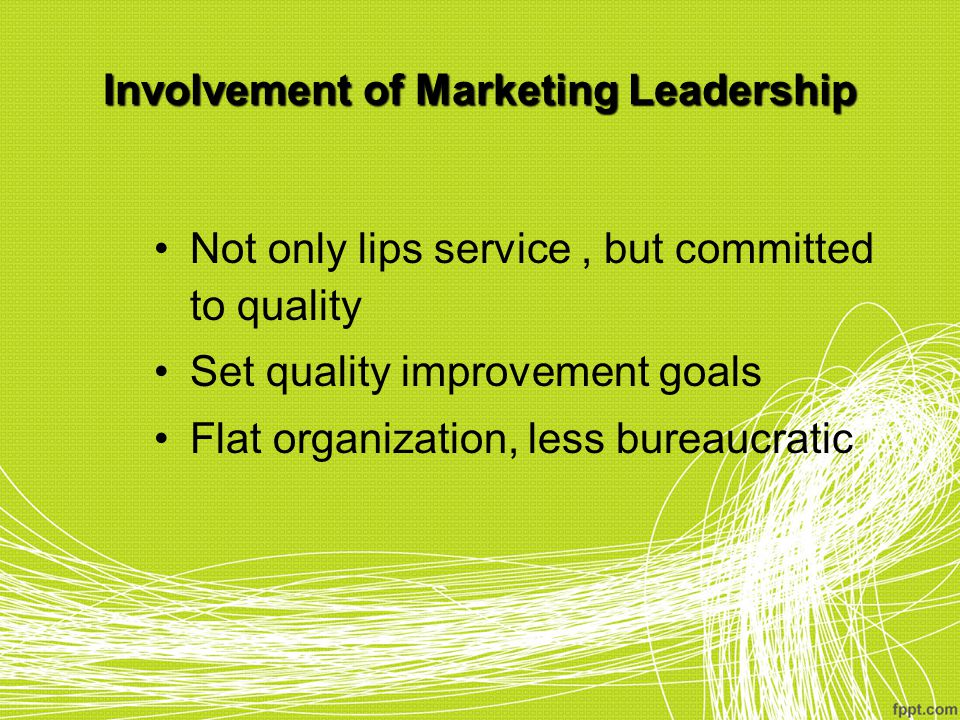 Involvement of Marketing Leadership Not only lips service, but committed to quality Set quality improvement goals Flat organization, less bureaucratic