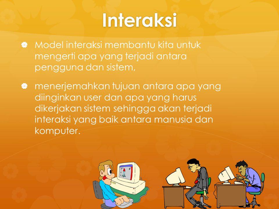 Interaksi   Model interaksi membantu kita untuk mengerti apa yang terjadi antara pengguna dan sistem,   menerjemahkan tujuan antara apa yang diing