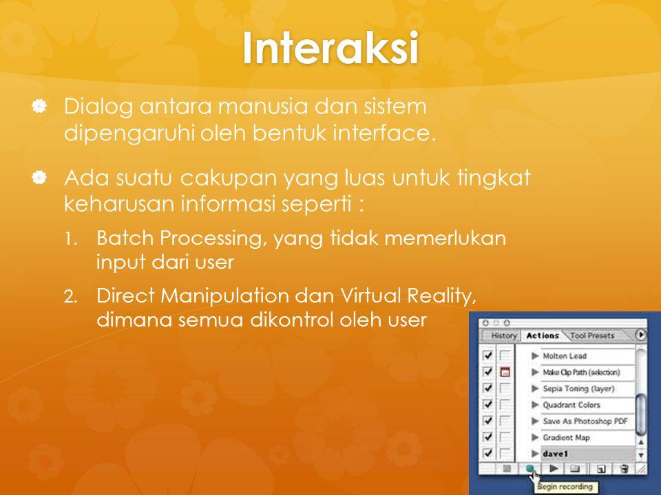 TERMINOLOGI INTERAKSI   Beberapa istilah yang digunakan dalam interaksi yaitu : 1.