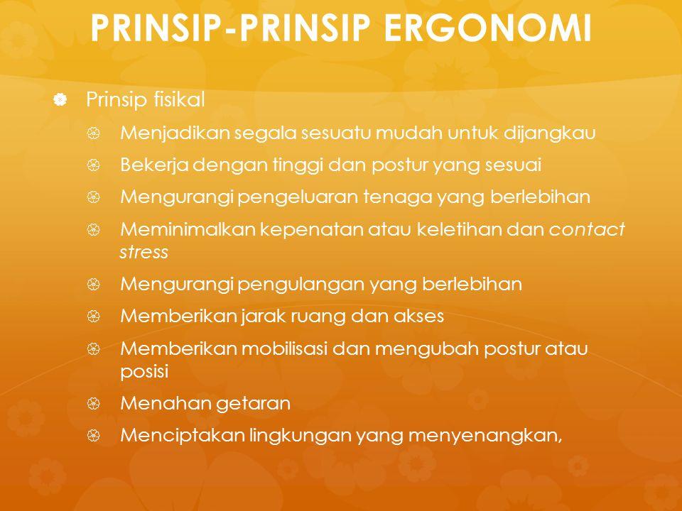 PRINSIP-PRINSIP ERGONOMI   Prinsip fisikal   Menjadikan segala sesuatu mudah untuk dijangkau   Bekerja dengan tinggi dan postur yang sesuai  