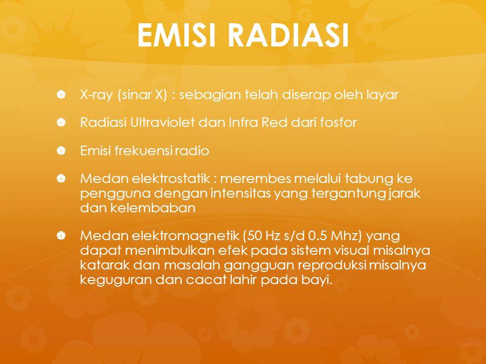 EMISI RADIASI   X-ray (sinar X) : sebagian telah diserap oleh layar   Radiasi Ultraviolet dan Infra Red dari fosfor   Emisi frekuensi radio  
