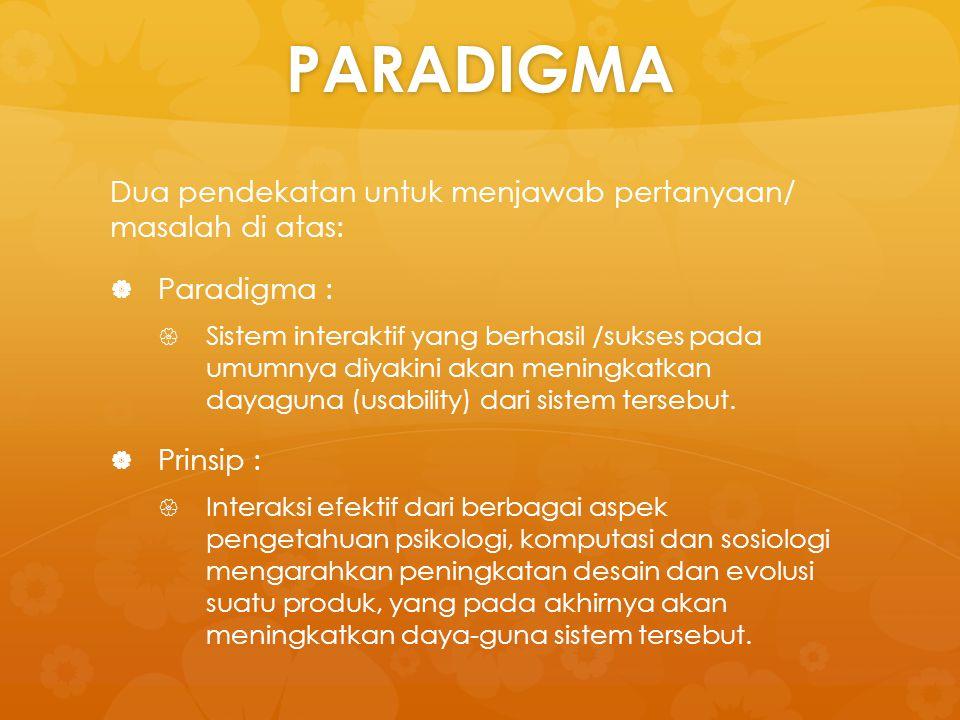 PARADIGMA Dua pendekatan untuk menjawab pertanyaan/ masalah di atas:   Paradigma :   Sistem interaktif yang berhasil /sukses pada umumnya diyakini
