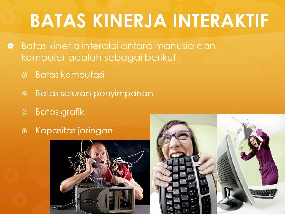 BATAS KINERJA INTERAKTIF   Batas kinerja interaksi antara manusia dan komputer adalah sebagai berikut :   Batas komputasi   Batas saluran penyim